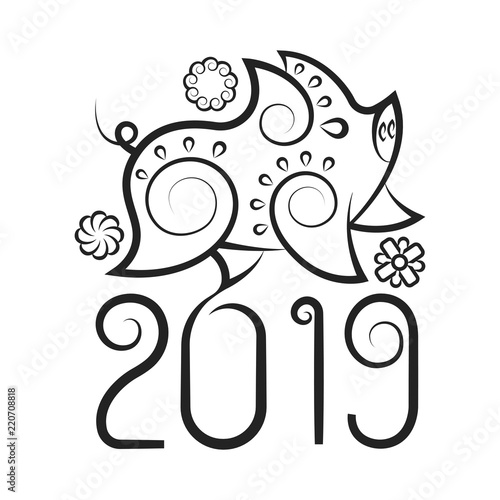 Chinese New Year Pig 2019 Line Design Chinese Traditional Zodiac