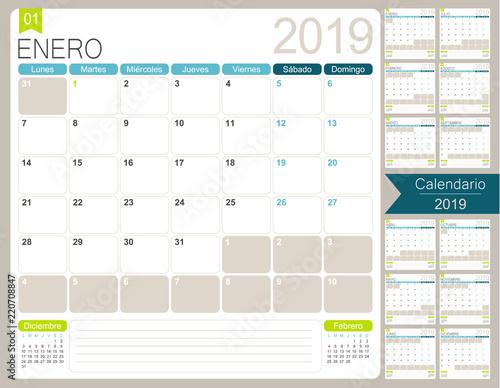 Spanish Calendar 2019 Spanish Calendar Planner For Year 2019 Week
