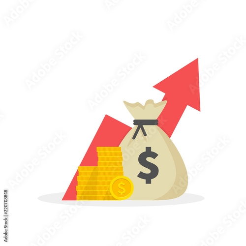 Photo Income increase strategy, Financial high return on investment, fund raising, revenue growth, interest rate, loan installment, credit money, budget balance