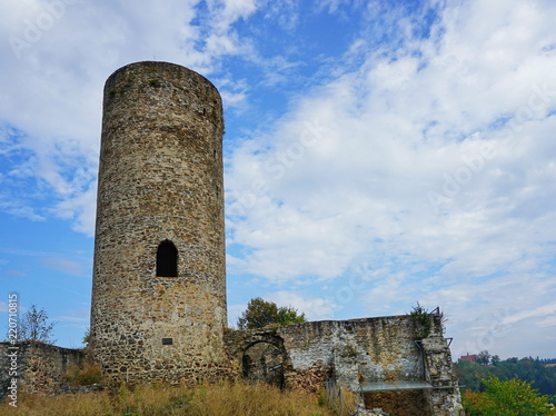 Castle Ruins Tower Under Blue Sky With White Clouds Buy
