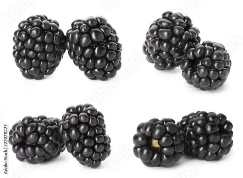Set with fresh tasty blackberries on white background
