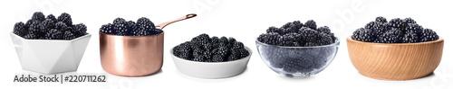 Set with fresh tasty blackberries in dishware on white background