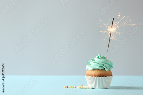 Delicious birthday cupcake with burning sparkler and space for text on light bac Canvas Print