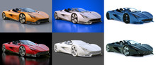 Set Conceptual Sports Cabriolet For Driving Around The City And Racing Track. 3d Rendering.
