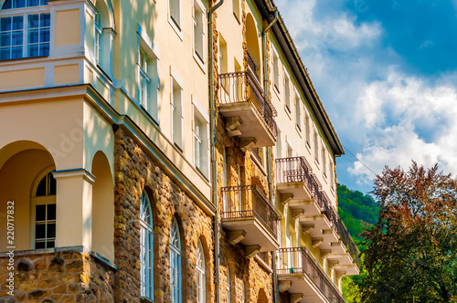 Aluminium Prints Sydney Historic palace on a sunny day in Lillafured, Hungary