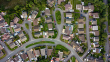 Top Down Aerial View Of Urban Houses And Streets In A Residential Area Of A Welsh Town