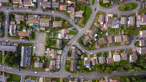 Valokuva  Top down aerial view of urban houses and streets in a residential area of a Wels