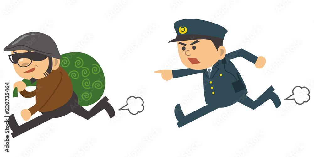 Fototapeta 泥棒を追いかける警察官