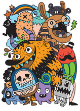 Cute Scary Halloween Monsters And Candy