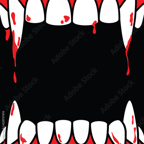 Fotografie, Obraz Halloween square frame blank banner with dracula fang on black background ilustration vector
