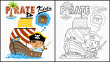 Vector illustration of coloring book or page with little pirate cartoon