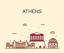 Athens Skyline, Greece. Vector Linear Style City