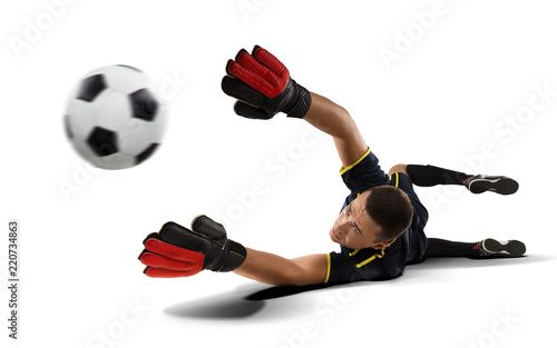 Fotografía goakeeper reaching for the ball isolated on white