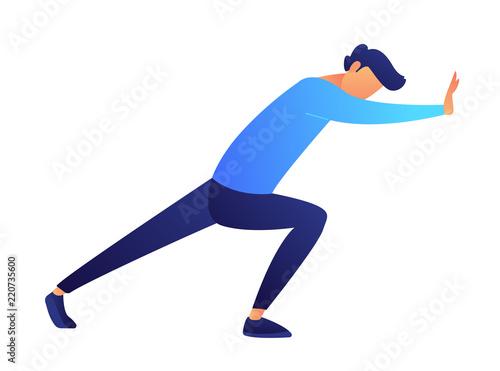 Fotomural Businessman pushing wall vector illustration