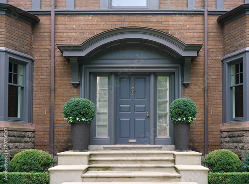 Fotografie, Obraz elegant front door with shrubbery