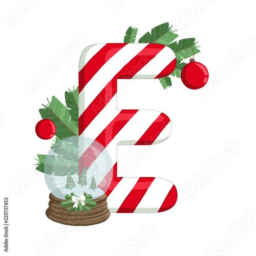 Christmas Alphabet.Christmas Alphabet Illustration Of Letter E With Tree