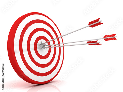 Fotomural  Arrows hitting the center of target - success business concept