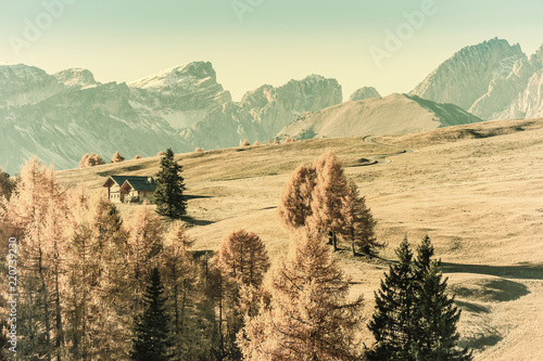 Poster Beige Autumn Vintage Landscape with Mountains