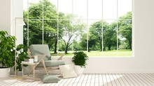The Interior Minimal Hotel Relax Space 3d Rendering And Nature View Background