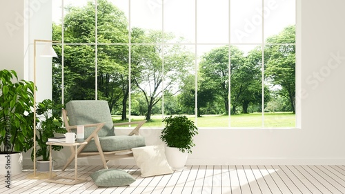 Foto  The interior minimal hotel relax space 3d rendering and nature view background