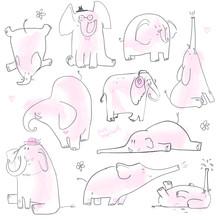 Set With Cute Pink Elephants