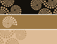 Set Of Bookmarks With Dots Spirals Patterns In Black And Gold Shades