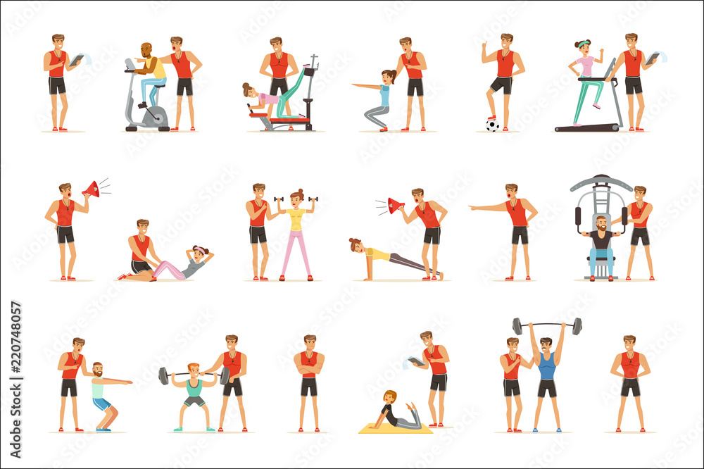 Fotografia Personal gym coach trainer or instructor set of vector Illustrations