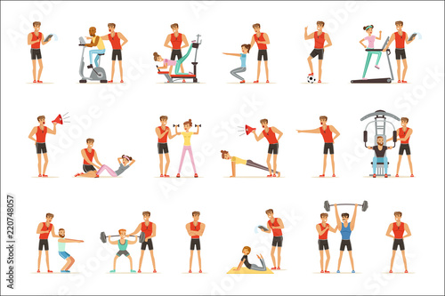 Slika na platnu Personal gym coach trainer or instructor set of vector Illustrations