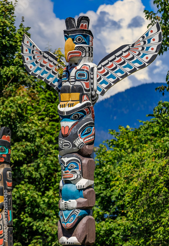 First Nations American Indian thunderbird totem pole in Stanley Park in Vancouve Canvas Print