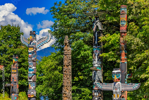 First Nations American Indian totem poles in Stanley Park in Vancouver Canada Wallpaper Mural