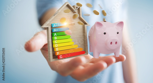 Cuadros en Lienzo Businessman saving money with good energy chart rating 3D rendering