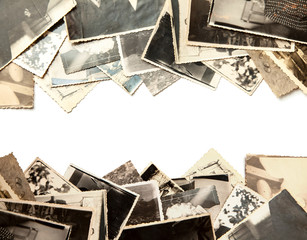 Stack old photos isolated o...