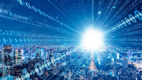 Fotomural  Smart city and digital network concept.