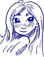 Cartoon Tekening Meisje Met Do...