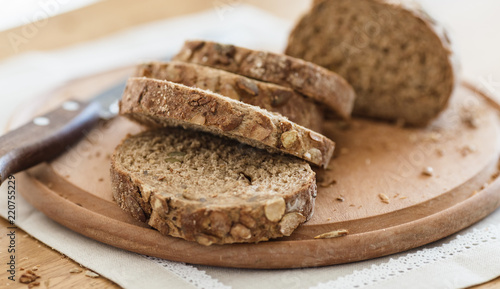 Fotografie, Obraz  Fresh tasty wheat wholegrain brown bread with pumpkin seeds