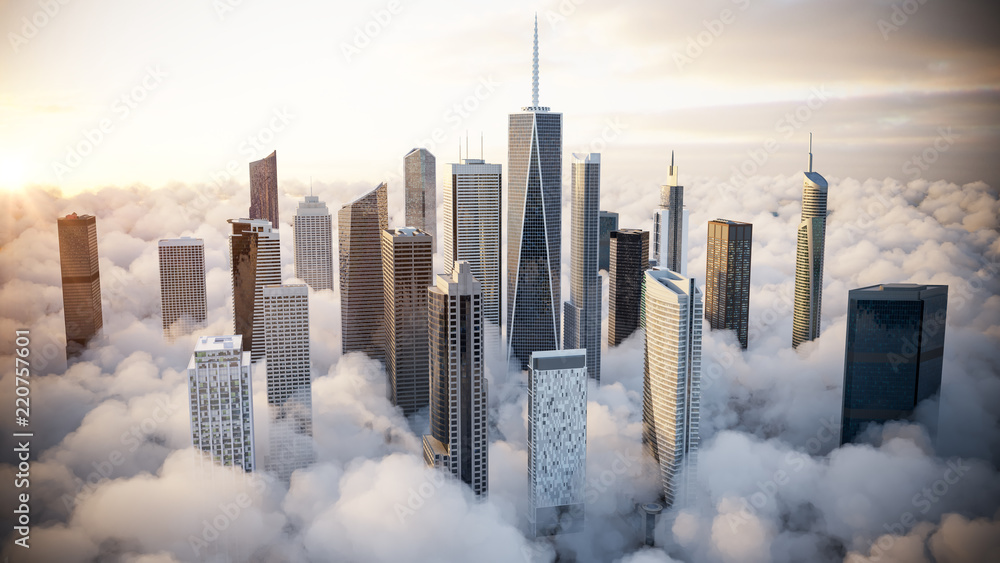 Fototapety, obrazy: Skyscrapers over the clouds