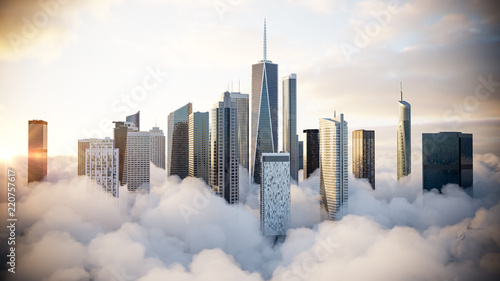 City above the clouds - 220757617