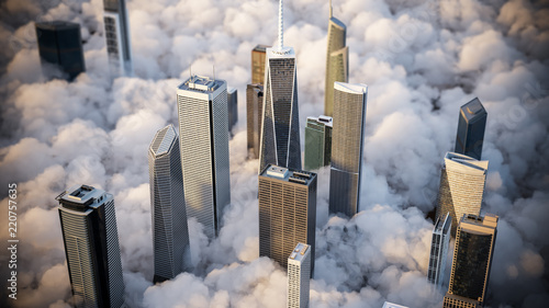 Skycreapers over the clouds