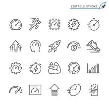 Performance Line Icons. Editab...