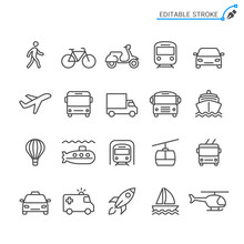 Transportation Line Icons. Edi...