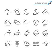 Weather Line Icons. Editable S...