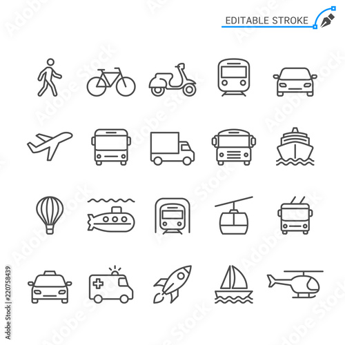 Fotografia, Obraz Transportation line icons. Editable stroke. Pixel perfect.