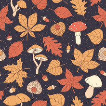 Vector Autumn Pattern With Oak, Poplar, Beech, Maple, Aspen And Horse Chestnut Leaves, Mushrooms, Acorns And Physalis On The Dark Blue Dotted Background. Usable For Wrapping Paper, Covers, Textile