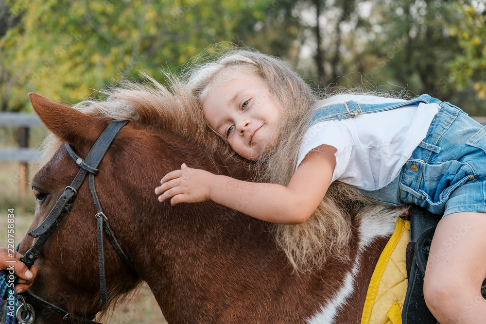 Fotografie, Obraz A cute little blonde girl is sitting on a pony in autumn.