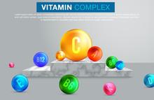 Multi Vitamin Complex Icons. Vitamin A, B Group - B1, B2, B3, B5, B6, B9, B12, C, D, E, K Multivitamin Supplement Logo