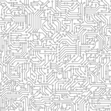 White Circuit Board Seamless P...