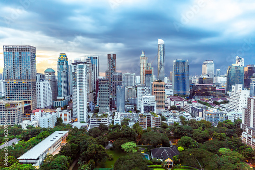 Canvas Prints Kuala Lumpur Cityscape downtown at Twilight, from the top of tower, Panorama view. many building with blue sky, abstract background.