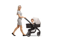 Mother Pushing A Stroller With A Baby