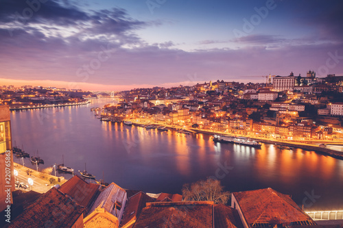 Foto op Aluminium Napels Porto, Portugal old city skyline from across the Douro River, beautiful urban landscape, a popular destination for travel to Europe