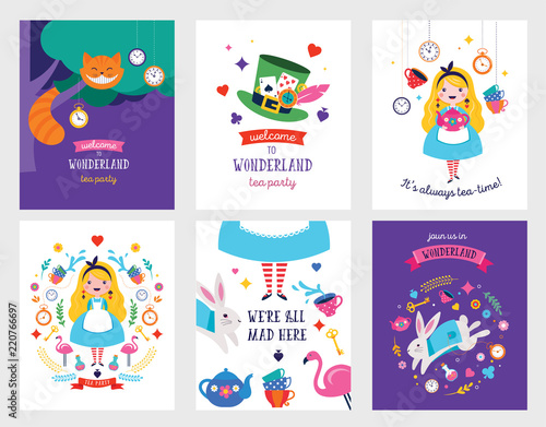 Alice in Wonderland banner, poster and card. We are mad here Wallpaper Mural